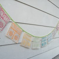 Prayer Flags, Goa Rainbow, Hand Printed Flags, Block Printed, Bunting Banner, Garden Flag Strand