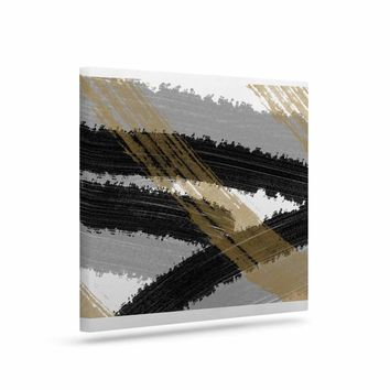 Black and Gold Brush Strokes - Black Gold Abstract Painting Art Canvas