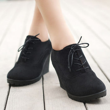 Wedges Women Boots Fashion Flock High-heeled Platform Ankle Boots Lace Up High Heels Spring Autumn