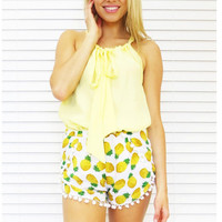 Pineapple Print Fringe Beach Shorts