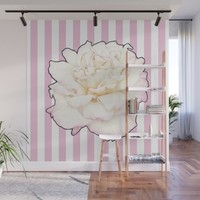 Pale Rose on Stripes Wall Mural by drawingsbylam