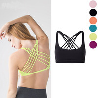 2016 Purplish red/Yellow/Black/Pink/Blue/Orange Solid Padded Bra Push Up Backless Bandage Fitnes Sporting Bras Sexy 3/4 Cup Top