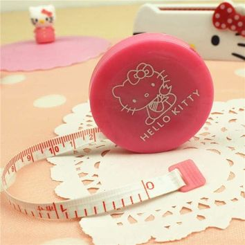 1Pcs New Cute Hello Kitty Pink Sewing Measurement Retractable Tailor Crafts Ruler Tape Measures.Cloth Dieting Tailor 1.5M F0523