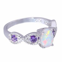 White Fire Opal Purple Zircon Silver Ring Size 5-12