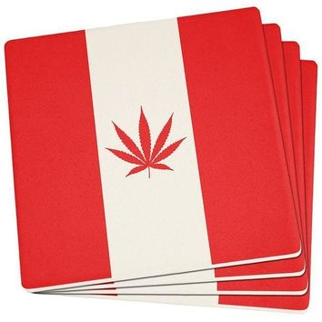 ESBGQ9 Canada Flag Pot Leaf Marijuana Set of 4 Square Sandstone Coasters