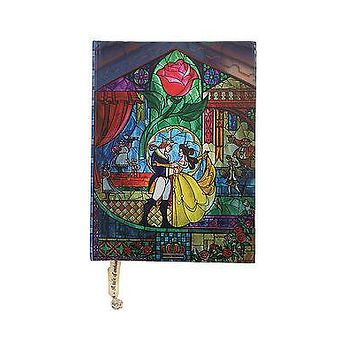 Licensed cool Disney Beauty & the Beast Stained Glass Journal Notebook Diary w/ Rose Bookmark
