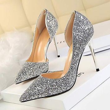 LAKESHI Glitter High Heel Shoes