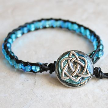 Celtic sister knot bracelet in ice blue