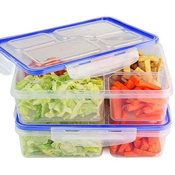 (2 Pack) 4 Compartment Microwave Safe Food Storage Container & Lid, Divided Plate, Bento Box, Lunch Tray & Cover