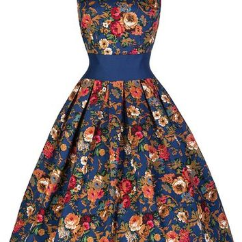 Lindy Bop 'Lana' Vintage 1950's Inspired Dark Blue Floral Swing Dress (4XL, Dark Blue)