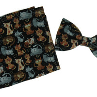 "Men Cats Clip On Bow Tie And Matching 10"" x 10"" Pocket Square"