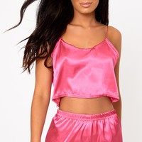 Hot Pink Satin Pyjama Shorts Set