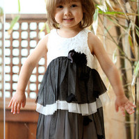 Bunnies Picnic - Isobella and Chloe Estelle Dress in Black and White - Girls Boutique Clothes