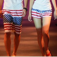Cotton American Flag Beach Shorts