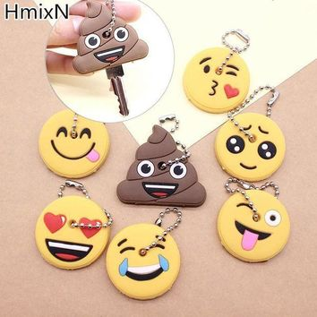 CREY8UV New cute key cover Emoji smile Stool Amusing cartoon Keychain Jewelry Head yellow face Silicone Key chain ring holder porte clef