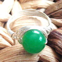 Jade Sterling Silver Wire Wrapped Ring