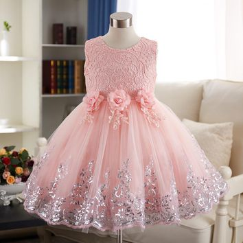 Baby Girl Flower bowknot Wedding Party Christening Gown Formal Pageant Ruffle Tutu Dress girls Princess dress 5 Colors 1-8 years