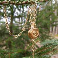 Large Gold Rose Pendant Necklace