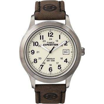 Timex Mens Expedition Brown Leather Strap Watch