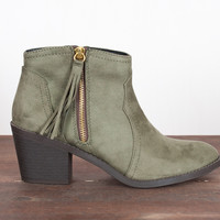 Around Town Suede Bootie - Olive