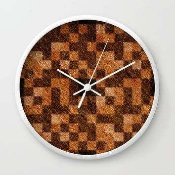 Brown Rock Pixel Pattern Wall Clock by Likelikes   Society6