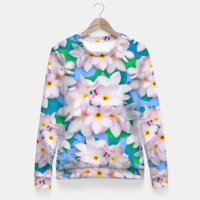 Plumeria Bouquet Exotic Summer Pattern Fitted Waist Sweater, Live Heroes