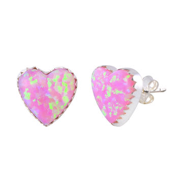 Sterling Silver Pink Opal Gemstone Earrings Iridescent 11mm Heart