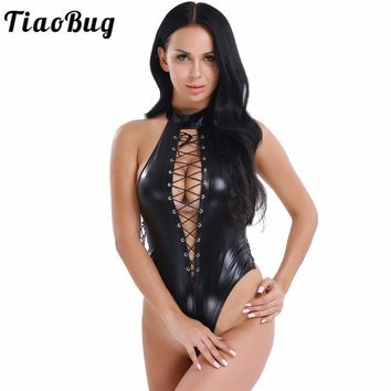 TiaoBug One Piece Sleeveless Halter Lace up PVC Leather Women Romper Bodysuit Leotard Sexy Exotic Clubwear Costume