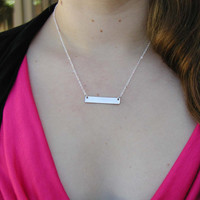 Rectangle Necklace - Charm Necklace - Tiny Necklace - Delicate Necklace - Silver Bar Necklace - Rectangle Pendant - Custom Necklace