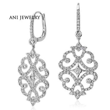 18KT White Gold 2.95 ct Certified I/SI1 Real Diamond Large Hollow Drop Earrings