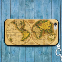 iPhone 4 4s 5 5s 5c 6 6s plus iPod Touch 4th 5th 6th Generation Cool Brown Green Custom Cute World Map Cover Country Nation Fun Amazing Case