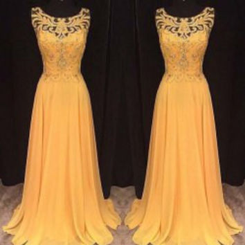 Yellow Sleeveless Cut-Out Maxi Dress