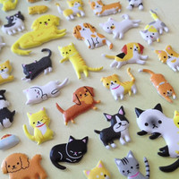 Cat and Dog party sticker pet house puffy animal sticker Miniature pet mini dog pussy cat little white cat kawaii pet cute animal seal label