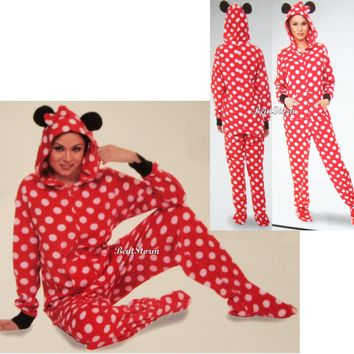 Licensed cool NEW Disney Minnie Mouse ADULT 1PC Costume PJS Fleece Hooded Footed Pajamas Ears