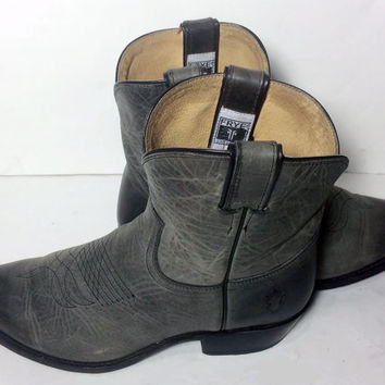 Frye 77814 Billy Short Gray Leather Western Cowboy Cowgirl Boots Women's Size 10