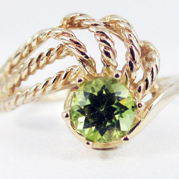 Peridot 14k Yellow Gold Twisted Swirls Ring, August Birthstone Ring, Solid 14 Karat Gold Ring, 14k Gold Peridot Ring, 14k Gold Ring