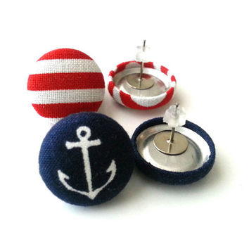 Two for 10.50 Nautical Button Earring Set