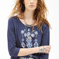 FOREVER 21 Heathered Tribal-Inspired Top Navy/Multi