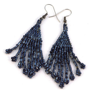 Beaded Black Fringe Earrings in Gunmetal