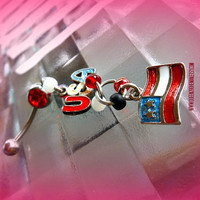 Flag and Usa Belly Ring, Red, Beach wear, Patriotic Jewelry, Direct Checkout, Ready to Ship, Body wear