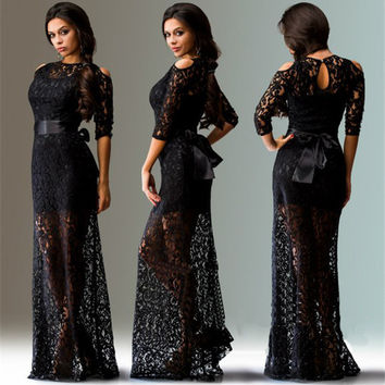 Lace Hollow Out Transparent Half Sleeves Long Dress