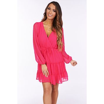 Nice To Know You Swiss Dot Surplice Dress (Fuchsia)