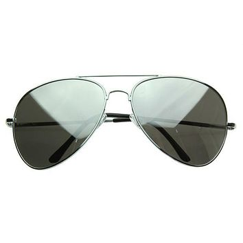 Oversize Retro Mirrored Lens Metal Aviator Sunglasses 1588 64mm