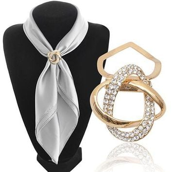Brooches Gold-plated Crystal silk Scarf Clip Holder Gift