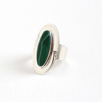 Vintage Sterling Silver Malachite Ring - Size 8 Retro Southwestern Oblong Oval Cabochon Green Gem Statement Cigar Band Jewelry Signed VO