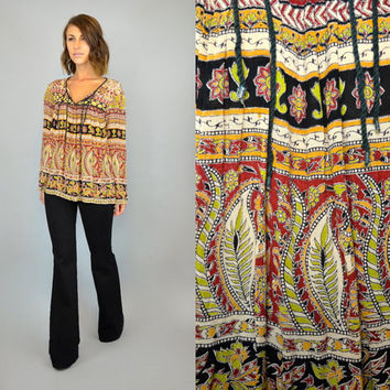 INDIAN GAUZE vintage 1970s boho ethnic hippie billowy TOP blouse, extra small-medium