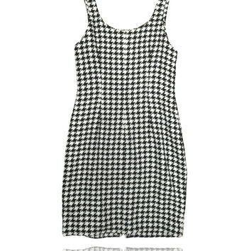 90s Black and White Houndstooth Zip Dress // Fully Lined // Ann Taylor // Size 2