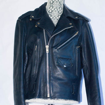Vintage 1980's Open Road Black Leather Motorcycle Jacket With Zip out Liner. Punk Ramones Perfecto Style. Size 40