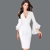 Bodycon Pencil Dress Deep V-Neck Flare Sleeve Solid Dresses