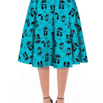 Cats in the rain flare skirt